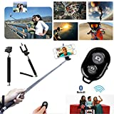 Generic Extendable Camera Selfie Self Portrait Shooting Pole Adjustable Handheld Monopod Mount Holder for Iphone 5s 5c 5 4s 4 HTC One LG Sony Samsung Galaxy Mobile Cell Phone with Bluetooth Remote Camera Wireless Shutter Black