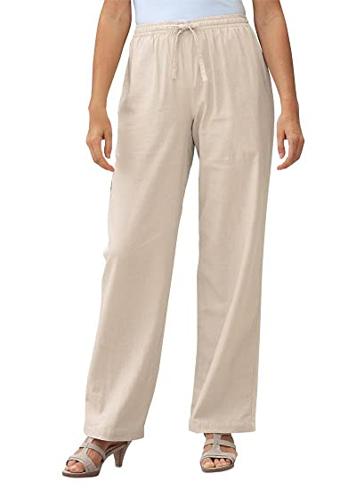 White linen pants for women plus size