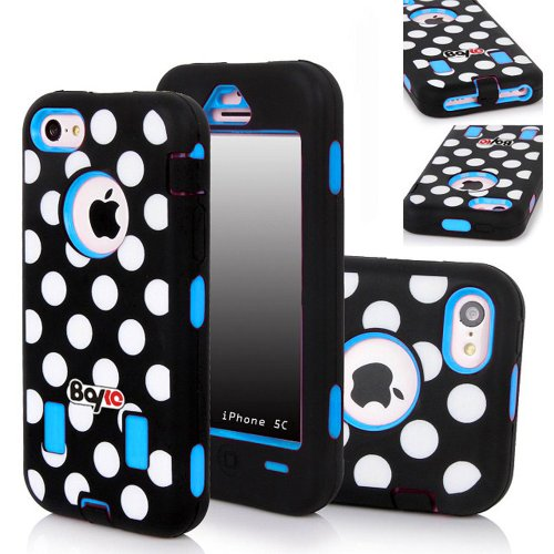 Bayke Brand 3in1 Armorbox Armor Defender Bumper Case for Apple Iphone 5C (5 & 5S Not Fit) Fashion Polka Dots Design High Impact Dual Layer Hybrid Full-body Protective Case (Sky Blue / Screen Protector not Include) at Amazon.com