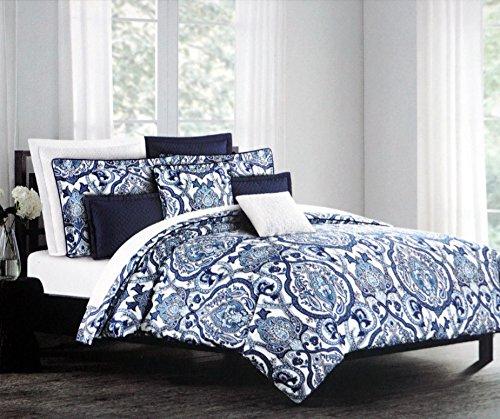 Tahari Home 3pc Duvet Cover Set Paisley Medallion Silver: Bedding Sets
