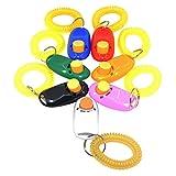 Dland 7 Farben-Knopf Clicker mit Handgelenkband für Hunde Clicker Trainings-7-Pack