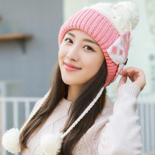 YangR*Cap i bambini in autunno e in inverno elegante bella nagymaros orecchio a sfera maglia hat caldo il panno privo di palla-lana spessi cappelli , Bianco