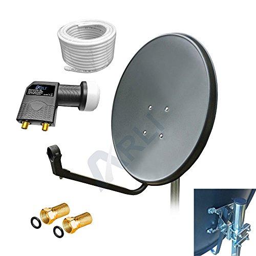 60 cm HD SAT Anlage GRAU Digitale TWIN LNB 20 m KABEL Antenne 2 Teilnehmer 4K 3D