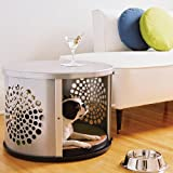 Small Silver BowHaus Hideaway Dog House Nightstand End Table