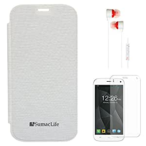 SumacLife Premium Flip Cover Case for Micromax Canvas Turbo A250 (White) + White Earphones + Matte Screen