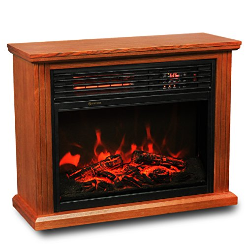 Xtremepowerus Infrared Quartz Electric Fireplace Heater Oak Finish With Remote Controller Home