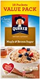Quaker Instant Oatmeal, Maple Brown Sugar Value Pack, Breakfast Cereal, 18 Packets