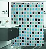 Mosaic Tile Shower Curtain Set w/12 Hooks - Vibrant Teal
