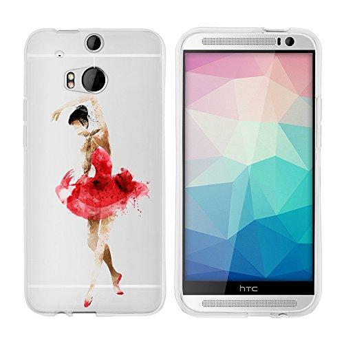'licaso® Cover per HTC One M8/M8s Dual 5TPU Cover protettiva HTC One Case Sketch trasparente chiaro per HTCone Custodia in silicone HTC One M8 / M8s Ballerina rot schwarz