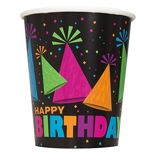 9oz Neon Party Paper Cups, Pack of 8 with Happy Birthday print.