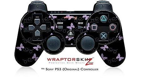 Sony PS3 Controller Skin - Pastel Butterflies Purple on Black