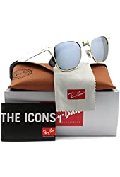 Ray-Ban RB3507 Clubmaster Sunglasses Silver w/Gray Mirror (137/40) RB 3507 137/40 49mm Authentic