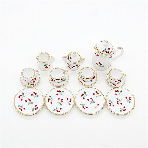 1/12 15Pcs Dollhouse Miniature Scale Porcelain Cherries Cup Tea Set