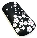 Emartbuy® White Blossom Premium PU Leather Pouch / Case / Sleeve / Holder ( Size X-Small ) With Pull Tab Mechanism Suitable For Nokia 1600