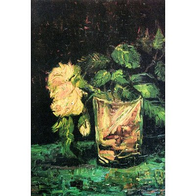 Professionally Framed Vincent Van Gogh Glass with Roses Art Print Poster - 13x19 with RichAndFramous Black Wood Frame