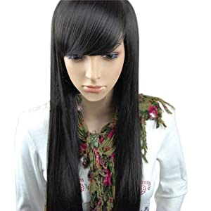 M.S Fashion Women's Long Straight Wig Hair Sexy Wine Red /Black/Dark Brown from MelodySusie