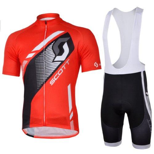 2013 NEW!!! SCOTT Red Bib Short Sleeve Cycling Jerseys Wear Clothes Bicycle/ Bike/ Riding Jerseys + Bib Pants Shorts Size L