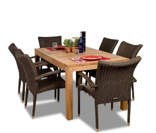 Amazonia Teak Brussels 7-Piece Teak/Wicker Rectangular Dining Set picture