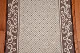 Caramel Scroll Border Carpet Runner - Purchase By the Linear Foot