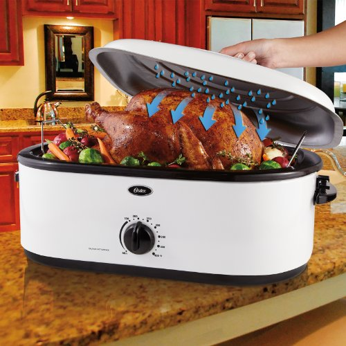 Oster 20 Quart Roaster Oven With Defrost And Self Basting: Oster CKSTRS16-WSB Self-Basting Roaster Oven, 16-Quart