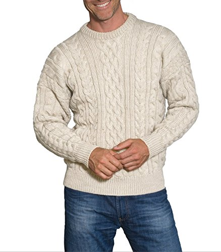 Wool Overs Mens Aran Sweater Cream Small (Wool Overs British Wool compare prices)