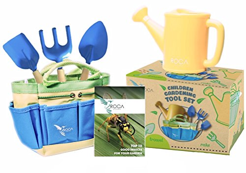 Gardening Tools for Kids with STEM Early Learning Guide by ROCA Home. Christmas Garden Toys, Outdoor Toys and Learning Toys. Cute Garden Bag.