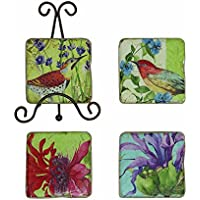 Creative Co-Op Resin Coaster Set With Floral Images And Metal Easel, Multicolor
