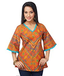 Enah Women's Cotton Orange Bias Folk Top X-Small (30B / Top / Orange-X-Small)