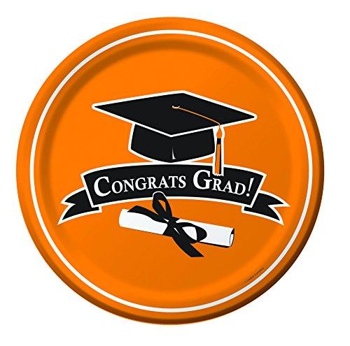 Creative Converting 18 Count Congrats Grad School Color Dinner Paper Plates, Sunkissed Orange