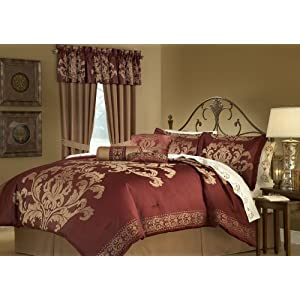 King Bedding Burgundy on 7pcs Cal King Charity Gate Comforter Set Burgundy  Amazon Com  Home