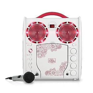 CDG Portable Karaoke Lightshow - Pink - Microphone and Bonus 40 Karaoke Children Songs Included from The Singing Machine