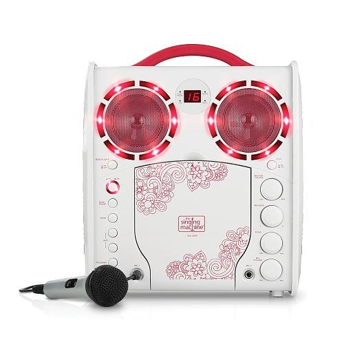 Cdg Portable Karaoke Lightshow - Pink - Microphone And Bonus 40 Karaoke Children Songs Included