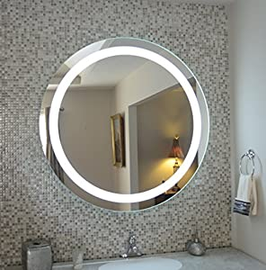 wall mounted lighted vanity mirror led mam1d44 commercial grade 44 round. Black Bedroom Furniture Sets. Home Design Ideas