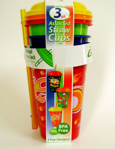 Reduce Gogo'S Kids Bpa-Free Plastic Tumbler Cups With Lids & Straws 12-Ounce, 3-Pack front-88076