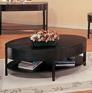 Wildon Home® Bishop Hills Oval Coffee Table Made from Solid Hardwood and Veneers with Open Shelf, Smooth Finished Tops and Taper Legs