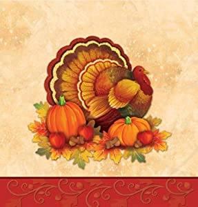 Creative Converting Thanksgiving Scroll Plastic Banquet Table Cover