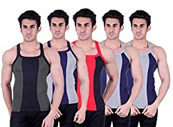 Zimfit Superb Gym Vests - Pack of 5 (GRN_GRY_BLK_BLU_BLU_95)