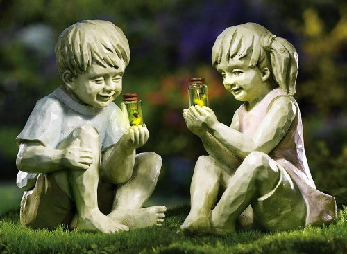 Little Girl W/ Firefly Jar Outdoor Garden Statue By Collections Etc
