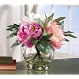 Collections Etc Faux Peony Floral Bouquet In Vase
