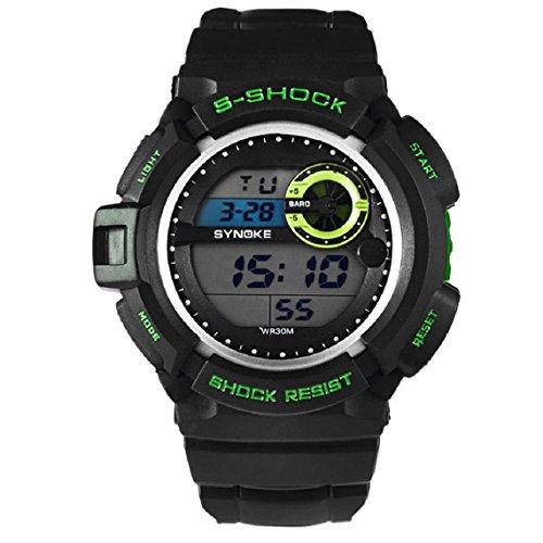 Zps(Tm) Men Waterproof Sports Digital Led Alarm Day Date Rubber Band Wrist Watch (Green)