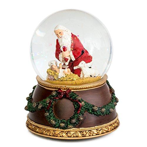 Kneeling Santa Silent Night 6 x 4 inch Christmas Water Globe Decoration