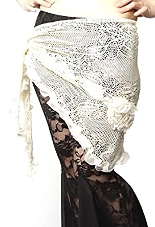 Belly Dance Lace Flower Hip Scarf , Fringe Waist chain hip scarf, Belly dance costume