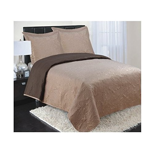 3 piece Reversible Coverlet Set with 2 Shams, Full / Queen Size 2016 fashin reversible skullies