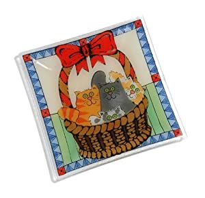 Peggy Karr Glass 10-Inch Basket of Kitties Square Plate