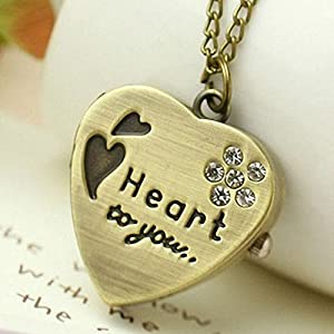Suppion Love Heart Gold Pendant Pocket Watch Necklace with Diamand Chain Gift