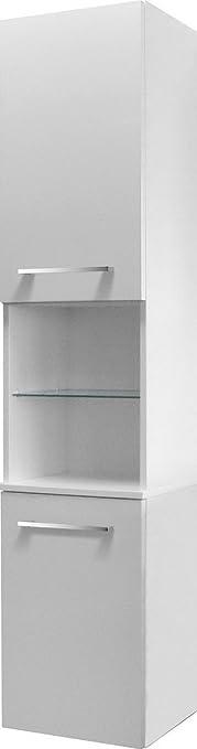 Fackelmann Rondo armadio alto a destra, colore: bianco lucido/bianco lucido/mobili da bagno
