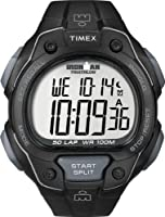 Timex Men's T5K495 Ironman Traditional 50-Lap All Black Resin Strap Watch from Timex