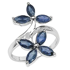 2.10 Carat Genuine Blue Sapphire Marquise Shaped Sterling Silver Ring