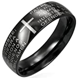 New Gents Black Stainless Steel Lords Prayer Band Ring, 7mm Wide.