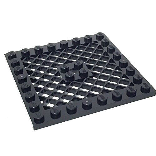 Lego Parts: Modified Plate 8 x 8 with Grille and Center Hole (Black) - 1